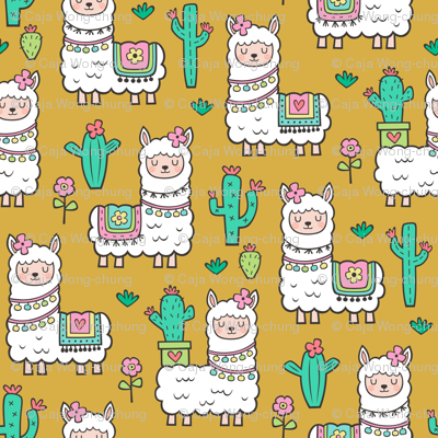 llamas  Alpaca Cactus & Flowers on Mustard Yellow