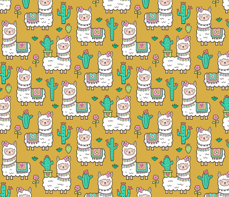 llamas  Alpaca Cactus & Flowers on Mustard Yellow fabric by caja_design on Spoonflower - custom fabric