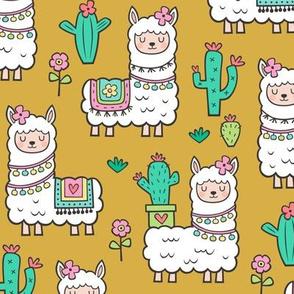 llamas  Alpaca Cactus & Flowers on Mustard Yellow