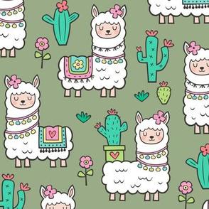 llamas  Alpaca Cactus & Flowers on Olive Green