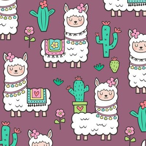 llamas  Alpaca Cactus & Flowers on Mauve