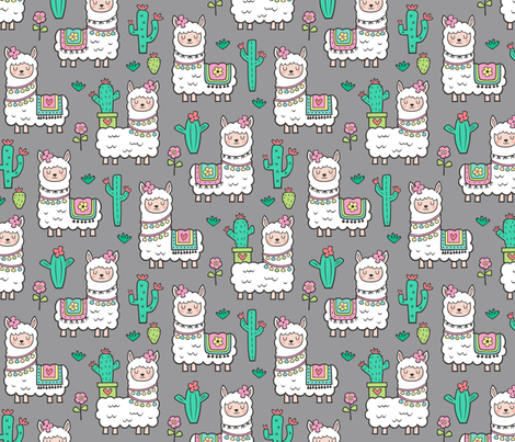 llamas  Alpaca Cactus & Flowers on Grey fabric by caja_design on Spoonflower - custom fabric