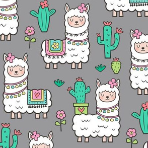 llamas  Alpaca Cactus & Flowers on Grey
