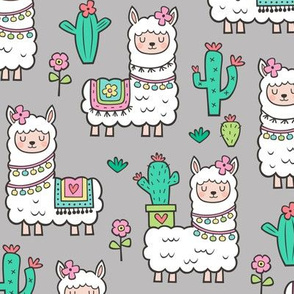 llamas  Alpaca Cactus & Flowers on Light Grey
