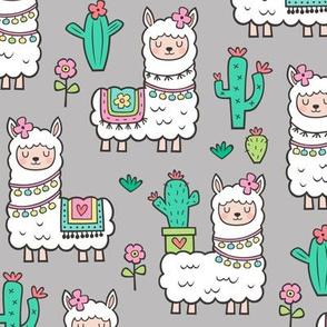 llamas  Alpaca Cactus & Flowers on Light Grey