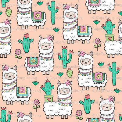 llamas  Alpaca Cactus & Flowers on Peach