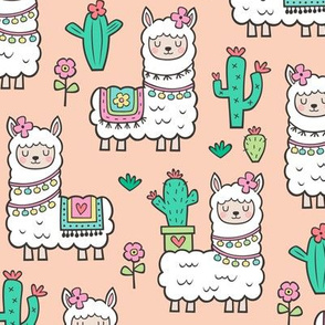 llamas  Alpaca Cactus & Flowers on Peach