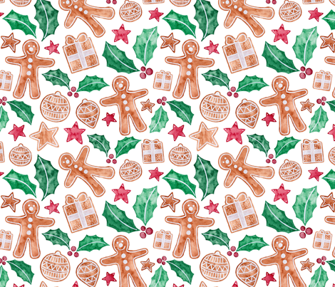 Christmas Gingerbread fabric by jenuine_designs on Spoonflower - custom fabric