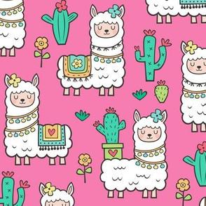 llamas  Alpaca Cactus & Flowers on Dark Pink