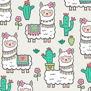 llamas  Alpaca Cactus & Flowers on Cloud Grey