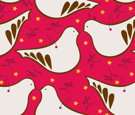 Gingerbread Doves  fabric by art-with-ali on Spoonflower - custom fabric
