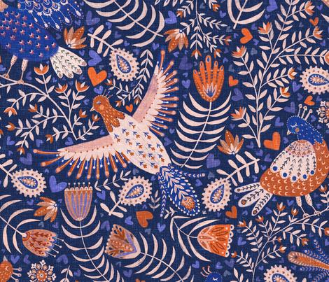 All my birds blue large / scandinavian folk art birds fabric by rebecca_reck_art on Spoonflower - custom fabric