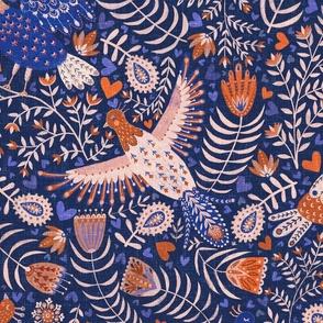 All my birds blue large / scandinavian folk art birds