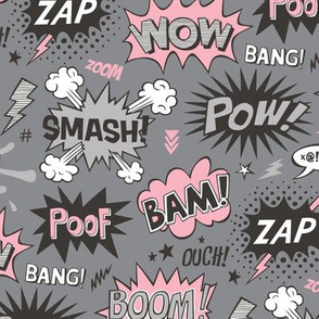 Superhero Comic Pop art Speech Bubbles Words Pink on Grey