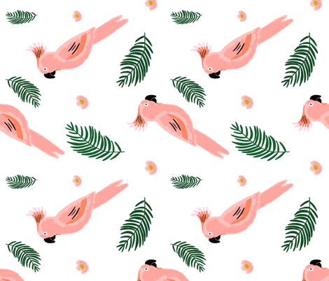 """21"""" Coral Tropics / White / 90 degrees fabric by shopcabin on Spoonflower - custom fabric"""