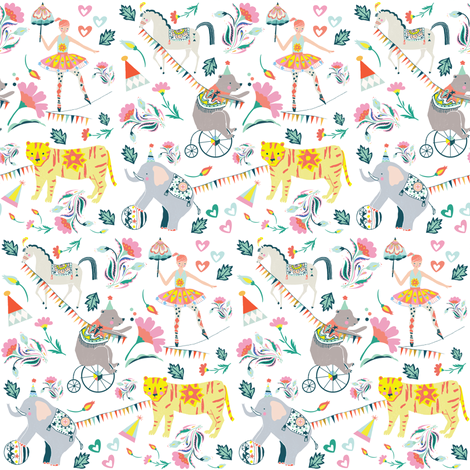 "4"" El Circo Florals - White fabric by shopcabin on Spoonflower - custom fabric"