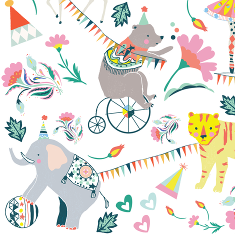 """10.5"""" El Circo Florals - White fabric by shopcabin on Spoonflower - custom fabric"""