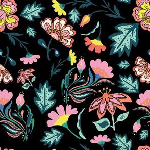 """10.5"""" El Circo Florals Mix and Match - Black"""