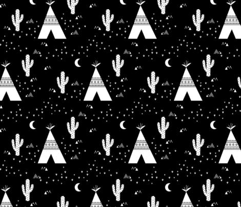 Teepee - Black Background fabric by kimsa on Spoonflower - custom fabric