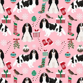 cavalier black and white tricolored christmas fabric cavalier king christmas fabrics xmas dog dogs cute xmas fabrics