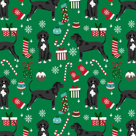 coonhound black and white christmas dog fabric stockings snowflakes green fabric by petfriendly on Spoonflower - custom fabric