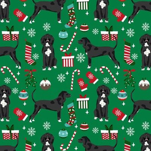 coonhound black and white christmas dog fabric stockings snowflakes green