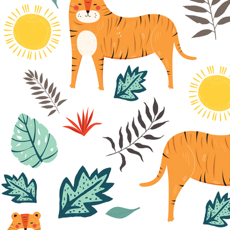 "10.5"" In The Wild Tigers - White fabric by shopcabin on Spoonflower - custom fabric"
