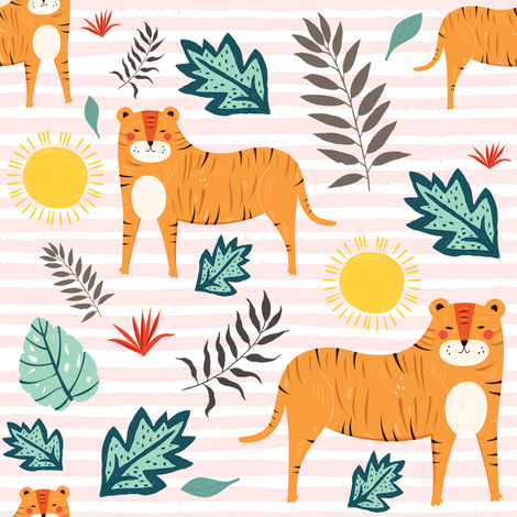 "8"" In The Wild Tigers - Pink Stripes fabric by shopcabin on Spoonflower - custom fabric"