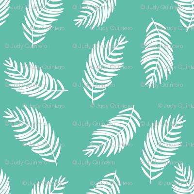 "8"" Coral Tropics / Mix and Match Leaves / Aqua and White"