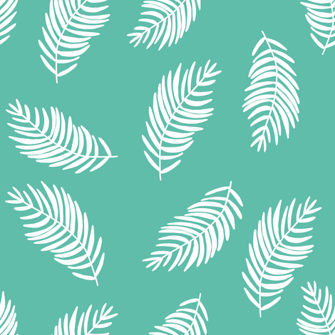 """8"""" Coral Tropics / Mix and Match Leaves / Aqua and White fabric by shopcabin on Spoonflower - custom fabric"""