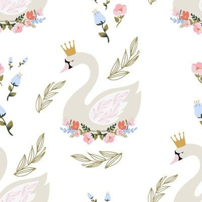 """8"""" Blue and Pink Floral Swan"""