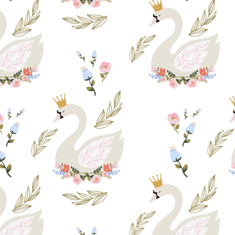 "6"" Blue and Pink Floral Swan fabric by shopcabin on Spoonflower - custom fabric"