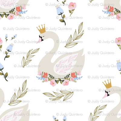 """4"""" Blue and Pink Floral Swan"""