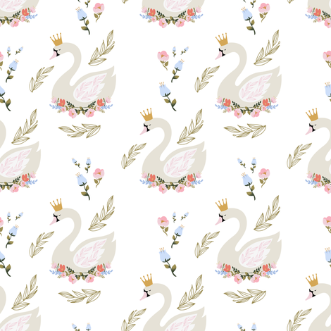"4"" Blue and Pink Floral Swan fabric by shopcabin on Spoonflower - custom fabric"