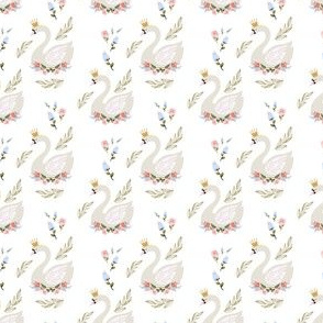 """2"""" Blue and Pink Floral Swan"""