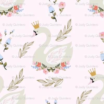 """10.5"""" Blue and Pink Floral Swan - Pink"""