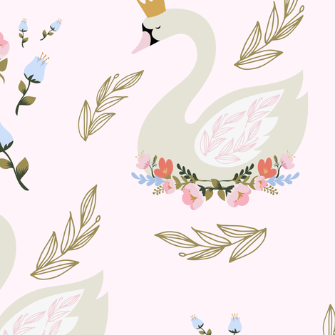 """10.5"""" Blue and Pink Floral Swan - Pink fabric by shopcabin on Spoonflower - custom fabric"""