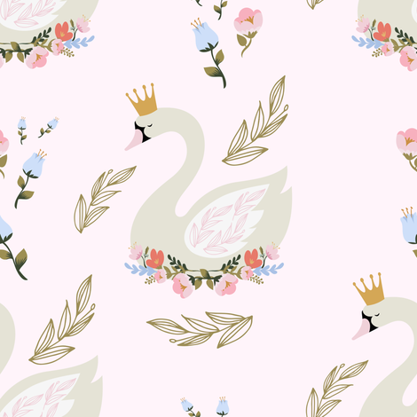 """8"""" Blue and Pink Floral Swan - Pink fabric by shopcabin on Spoonflower - custom fabric"""