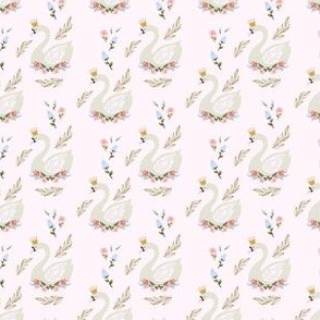 """2"""" Blue and Pink Floral Swan - Pink"""