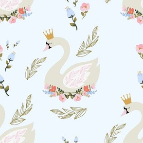 """8"""" Blue and Pink Floral Swan - Blue"""