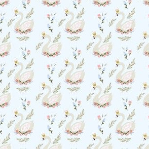 """2"""" Blue and Pink Floral Swan - Blue"""