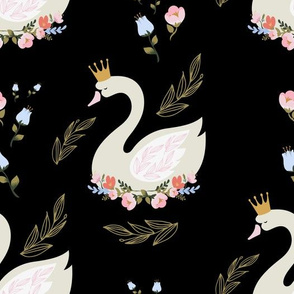 "10.5"" Blue and Pink Floral Swan - Black"