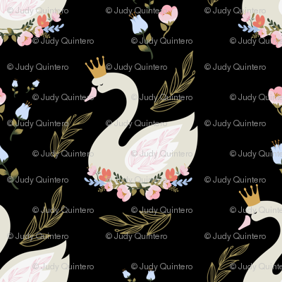 "8"" Blue and Pink Floral Swan - Black"