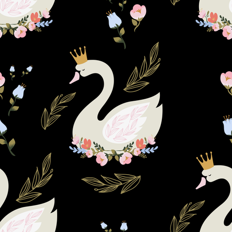 """8"""" Blue and Pink Floral Swan - Black fabric by shopcabin on Spoonflower - custom fabric"""