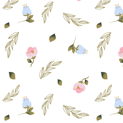 "6"" Blue and Pink Floral Mix and Match fabric by shopcabin on Spoonflower - custom fabric"