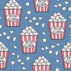 Popcorn on Dark Blue Navy