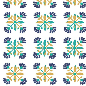 Otomi mexican rose yellow green blue tile