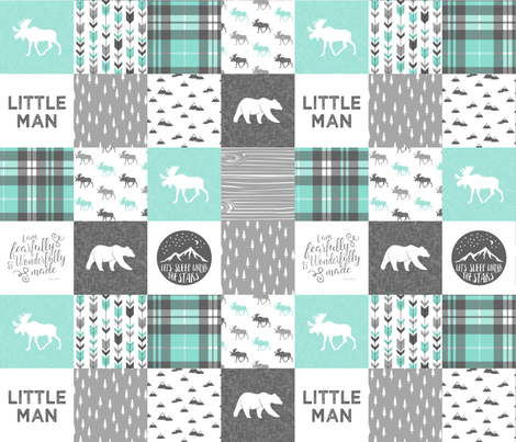 Little man - Fearfully and Wonderfully Made - Patchwork woodland quilt top  (light teal) fabric by littlearrowdesign on Spoonflower - custom fabric