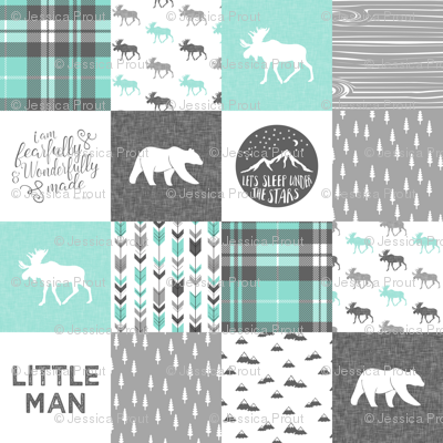 "(3"" small scale) Little man - Fearfully and Wonderfully Made - Patchwork woodland quilt top  (light teal)"