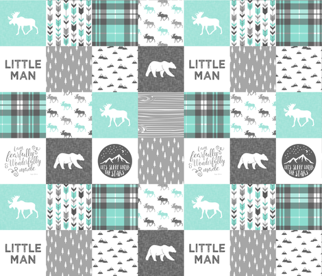 "(3"" small scale) Little man - Fearfully and Wonderfully Made - Patchwork woodland quilt top  (light teal) fabric by littlearrowdesign on Spoonflower - custom fabric"